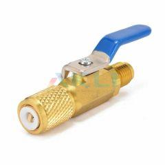Zawór kulowy chłodniczy 1/4 SAE R134a R404a R407c niebieski