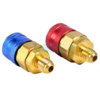Złącza serwisowe klimatyzacji R134a czerwone i niebieskie QC 1/4